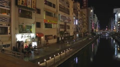 Dotonbori - canal nightlife pan Stock Footage