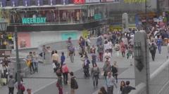 Aerial close angle - Shin sai bashi suji at Dotonbori Stock Footage