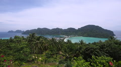 View of Koh Phi Phi Don Island from Phi Phi Viewpoint, Thailand Stock Footage