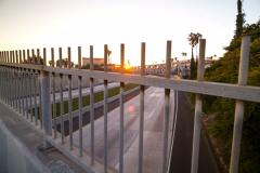 5k Dolly time lapse, Sunset freeway overpass during rush hour Stock Footage
