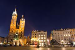 Stock Photo of st. mary's church in market square, krakow, poland.