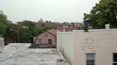 Houses Queens New York City Moving Subway View Ghetto NYC Hood Neighborhood Stock Footage