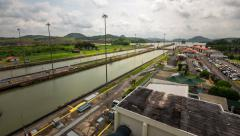 Panama Canal Time Lapse Pan - stock footage