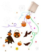 Stock Illustration of Various Halloween Item and Evil Falling From Paper Bag