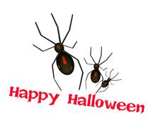 Three Evil Spiders with Word Happy Halloween - stock illustration