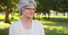 Senior woman looking off into the distance Stock Footage