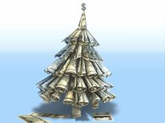 fantasy christmas fir-tree made of dollars. Conceptual New Year 3d illustration - stock illustration