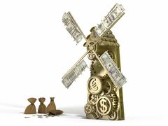 golden mill  doing gold money and different currency - dollar, euro, yen - stock illustration