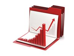 Business graph or chart on office folder. Conceptual 3d illustration - stock illustration