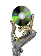 Stock Illustration of Robotic arm holds a CD. Retro and new modern technology together.