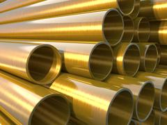 Stock Illustration of glossy and shiny copper round pipes.  industrial 3d illustration