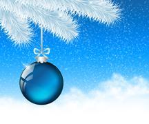 Stock Illustration of christmas glassy blue ball