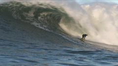 Surfer catches big wave HD Stock Footage