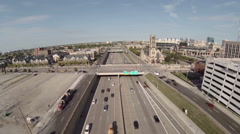 Detroit Aerial Freeway - stock footage