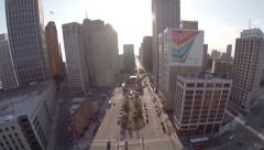 Detroit Aerial City Stock Footage