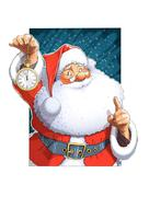 Santa Claus with clock - stock illustration