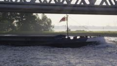Cargo vessel sailing by on the canal. Stock Footage