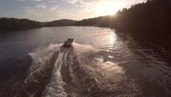 Lake Aerial Sunset Boat Stock Footage