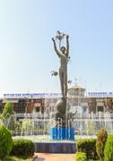 Monument in front of the terminal building. airport. dushanbe, tajikistan Stock Photos