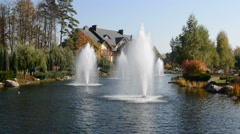 "The fountains and ""Khonka"" house in Mezhigirya Stock Footage"