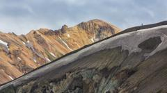Couple along the ridge in Landmannalaugar lava landscape Stock Photos