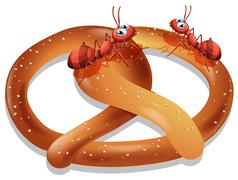 Pretzel and ants Stock Illustration
