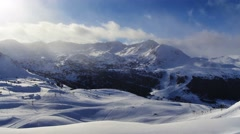 Winter landscape. Mountain ski resort Pas de la Casa, Andorra. Time-lapse. - stock footage