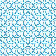 Teal and white pi symbol repeat pattern background Stock Illustration