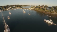 Stock Video Footage of Maine Aerial Harbor