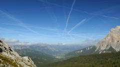 4k UHD time lapse contrails over dolomites valley 11524 - stock footage