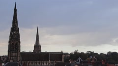Spires Lichfield Cathedral and St Marys Church Rooftop Point of View Lichfield Stock Footage