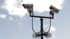 Security Surveillance CCTV Camera Pole Spikes Abstract Blue Sky Background Stock Footage