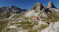 4k UHD time lapse tourist traffic refuge Locatelli dolomites wide 11525 Footage