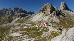 4k UHD time lapse tourist traffic refuge Locatelli dolomites wide 11525 Stock Footage