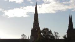 Tilt Silhouette Three Spires Historic Lichfield Cathedral Lens Flare Blue Sky Stock Footage