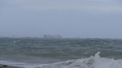 Cargo ship in stormy seas of hurricane Gonzalo 1 of 3 Stock Footage