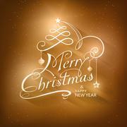 calligraphy merry christmas typography handwriting card - stock illustration