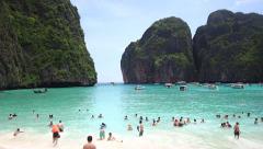 Tourists Bathing in Maya Bay, Koh Phi Phi Island, Thailand Stock Footage