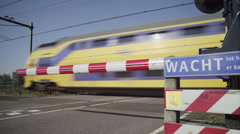 Dutch Railway crossing with signs Stock Footage
