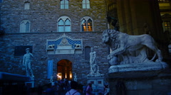 The lion with sphere, the symbol of Medici and  city of Florence ,time lapse,,4k Stock Footage