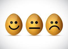 set of egg faces illustration design - stock illustration