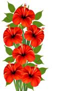 background with a bunch of red flowers. vector. - stock illustration