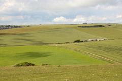 south downs countryside near eastbourne. england - stock photo