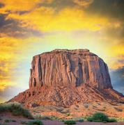 monument valley, buttes in the navajo tribal park - stock photo