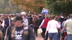 Crowded fall festival Stock Footage