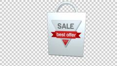 Shopping bag. Special offers. 6 bags pack with alpha-channel Stock Footage