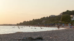 Timelapse of day at resort with people on beach Stock Footage