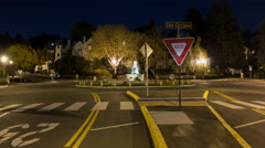 Time lapse of cars going around a traffic circle and fountain at night static 2 Stock Footage