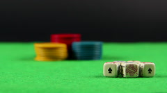 Poker dice chips focus Stock Footage