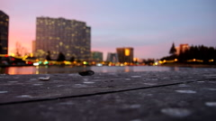 Time lapse taken looking over Lake Merritt at dusk, shallow depth of field Stock Footage
